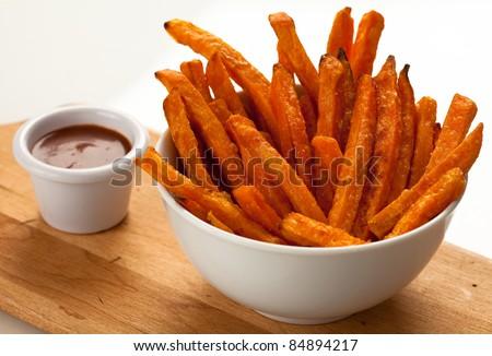 Sweet Potato Fries w/dip 3 - stock photo