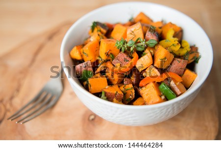 Sweet Potato Hash with Fresh Herbs, Peppers and Onions