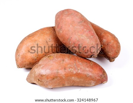 Sweet potato on a white background