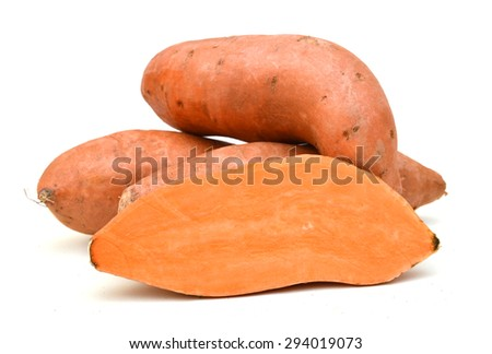Sweet potato yam isolated on white background