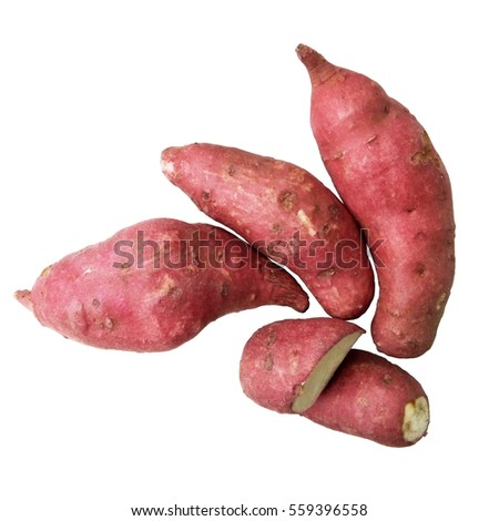 Sweet potato / yam isolated on white, flat layout / top view, close up, image ratio 1 x 1 (square)