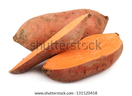 sweet potato yam isolated on white Ipomoea batatas