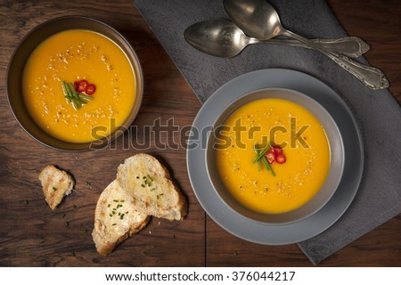 Sweet potatoes cream soup with croutons