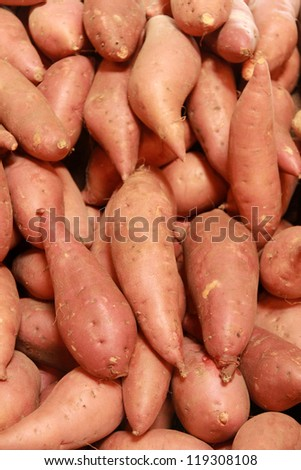 Sweet potatoes for sale Close up - stock photo