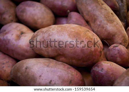Sweet potatoes on a market stall in Queensland, Australia. Full-frame, Background, Healthy Food - stock photo