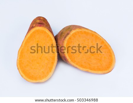 Sweet potatoes on a white background.