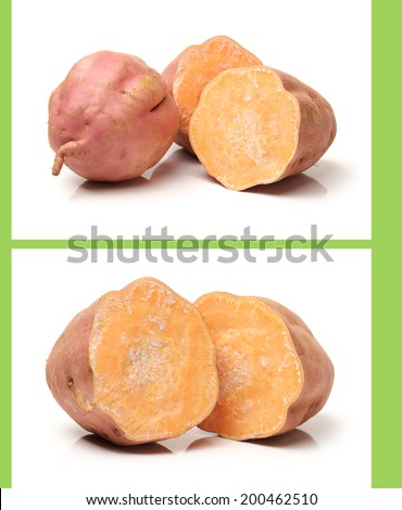sweet potatoes on the white background
