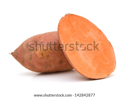 Sweet potatoes on white