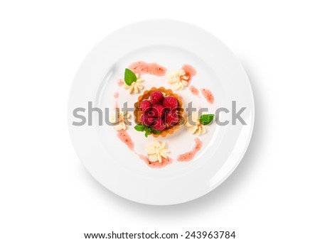 Sweet raspberry dessert on a white plate - stock photo