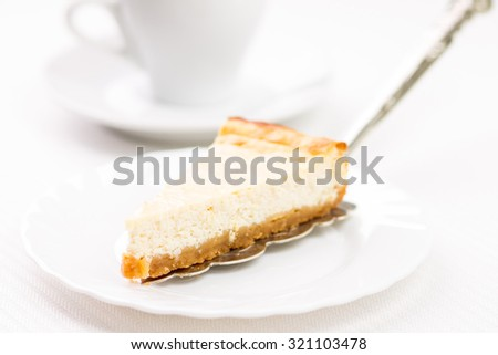 Sweet recipe or dessert menu background. Wedge of cheesecake on silver spatula - stock photo