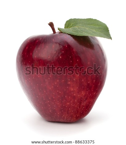 Sweet red apple with green leaf isolated on white background - stock photo