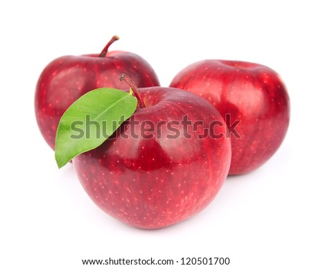 Sweet red apples with leafs on white