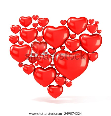 Sweet, red, beautiful hearts on white background, arranged in shape of big heart. 3D render illustration - stock photo