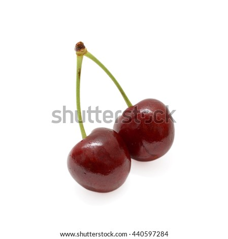 Sweet Red Cherries Isolated on White Background