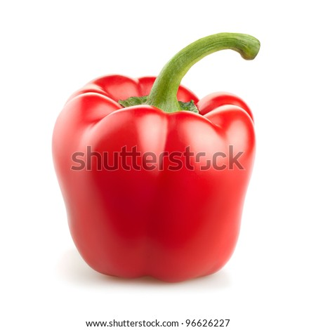 sweet red pepper isolated on white background - stock photo
