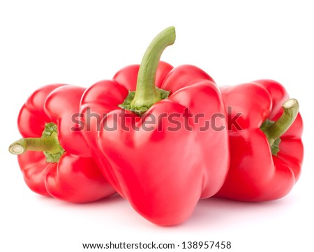 Sweet red pepper isolated on white background cutout - stock photo