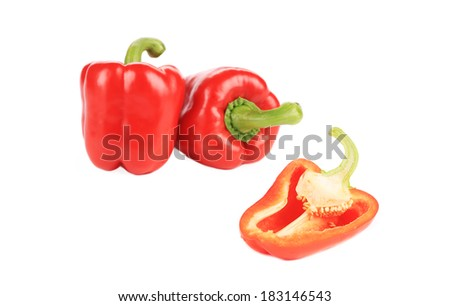 Sweet red peppers. Isolated on a white background.