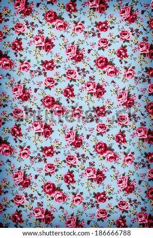 Sweet retro pink rose fabric blue background