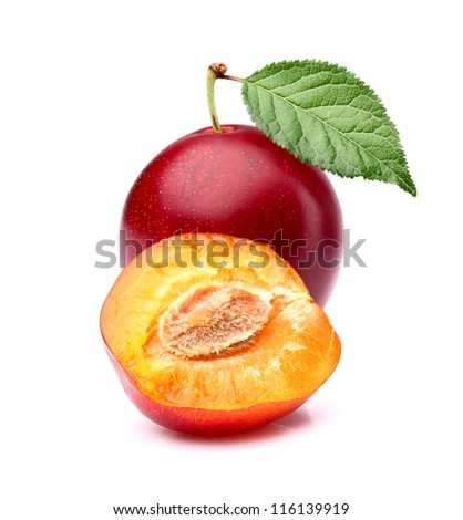 Sweet ripe plum with slice