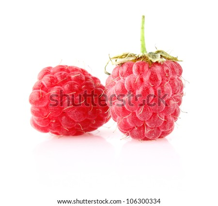 sweet ripe raspberry isolated on white background - stock photo