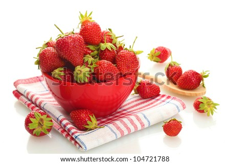 sweet ripe strawberries in bowl isolated on white - stock photo