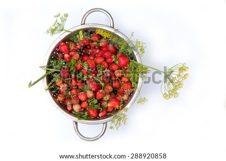 sweet ripe tasty rustic strawberries in bowl isolated on white background, close up, top view - stock photo