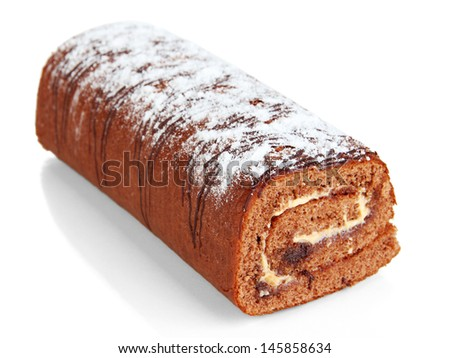Sweet roll isolated on white - stock photo