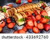 Sweet Rolled Pancakes with nutella, strawberry, blueberry and ice cream - stock photo