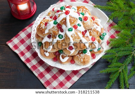 Sweet rolls with Christmas festive decorations, selective focus, top view - stock photo