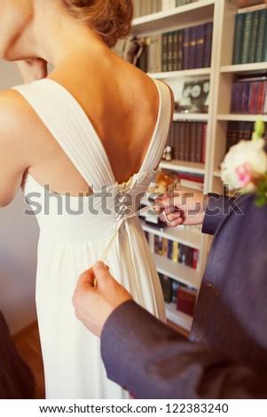 sweet romantic bride in white dress - stock photo