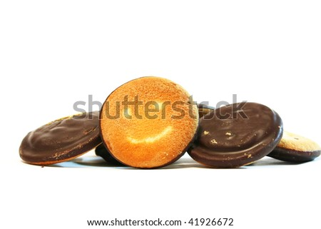 sweet round cookie isolated on a white background