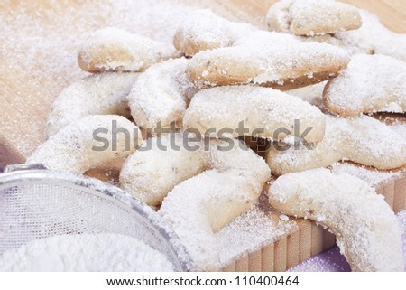 sweet sand tarts christmas cookies with powdered sugar - stock photo