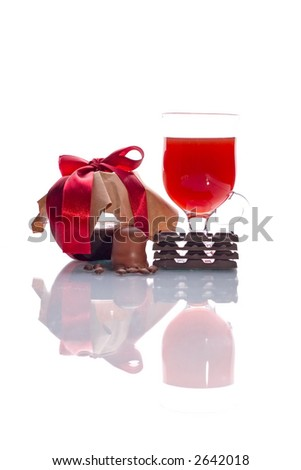 Sweet set- marmalade, wine, chocolate, coffee beans - stock photo