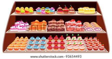 Sweet shop. raster illustration - stock photo