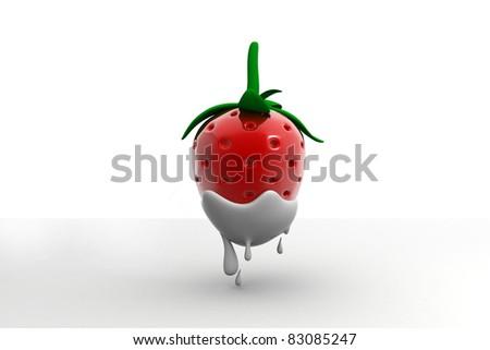 Sweet strawberry drown in milk - stock photo