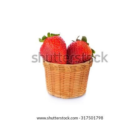 Sweet strawberry  in basket isolated on white background - stock photo