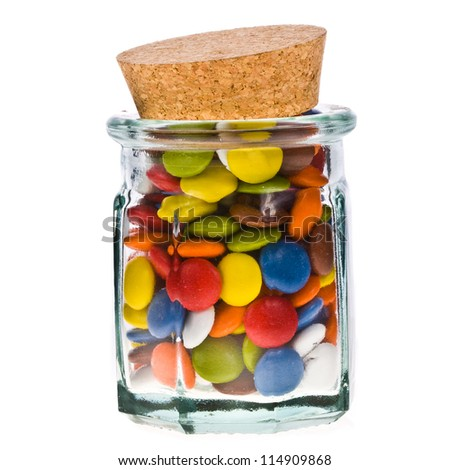 sweet sugar spreading pastry in glass jar, isolated on white background - stock photo