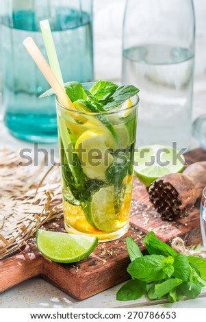 Sweet summer drink in glass