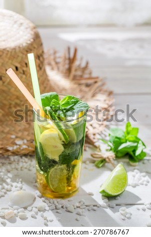 Sweet summer drink with citrus fruit