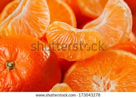 Sweet tangerine fruit closeup background - stock photo