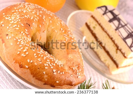 sweet tasty cake with green eve - stock photo