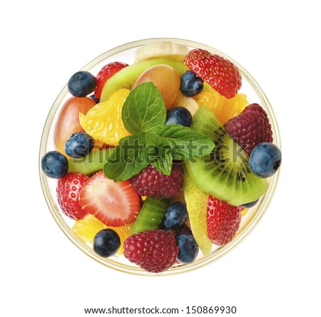 Sweet tasty fruit salad in the bowl isolated - stock photo