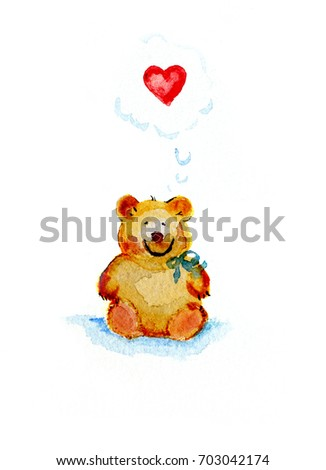 Sweet teddy bear, original watercolor painting