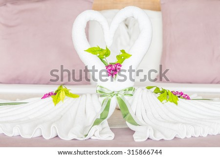 Sweet towel decoration on bedroom - Love concept for valentine - stock photo