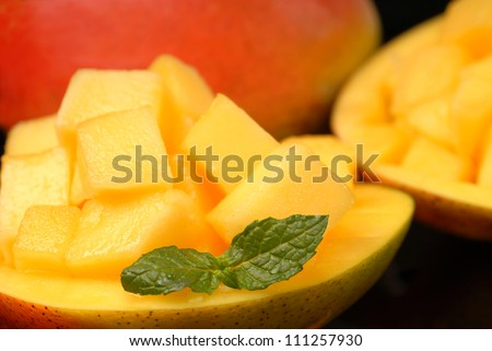 Sweet tropical mango diced and served in its shell with fresh mint. - stock photo