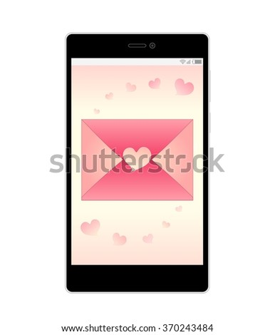 Sweet Valentine Love Letter - Pink Envelope with Pink Heart Shaped Sticker Decorated with Pink Hearts and Gradient Background on Smartphone Screen Isolated on White Background Illustration - stock photo
