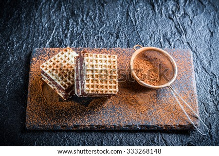 Sweet wafers with chocolate and hazelnut on stone plate
