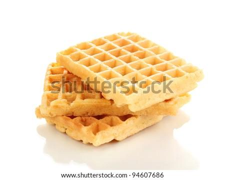 Sweet waffles isolated on white - stock photo