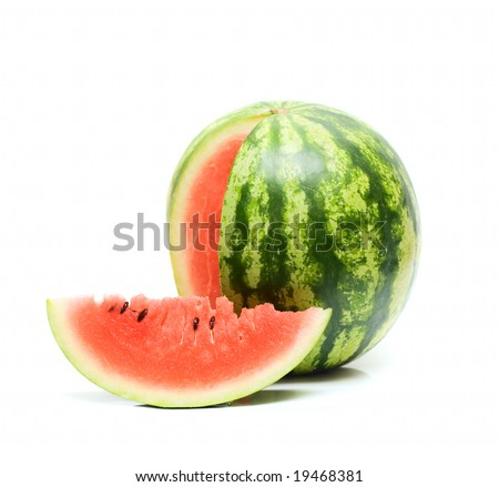 Sweet Watermelon isolated on white - stock photo