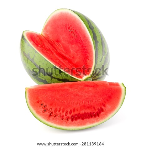 Sweet watermelon isolated on white background cutout - stock photo